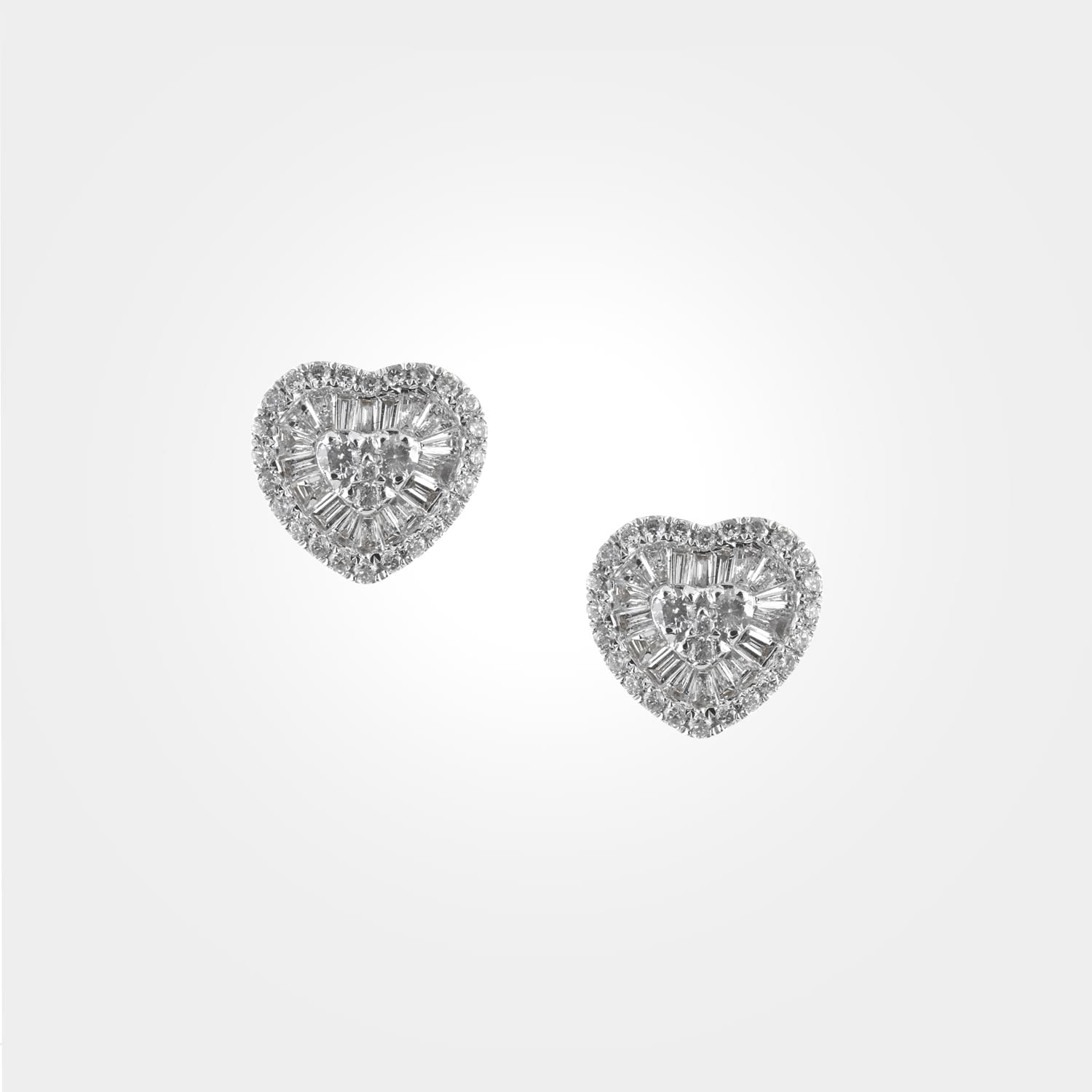 Heart-shaped diamond earrings