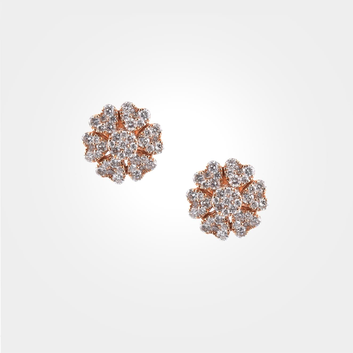 Floral Diamond & Rose Gold Earrings