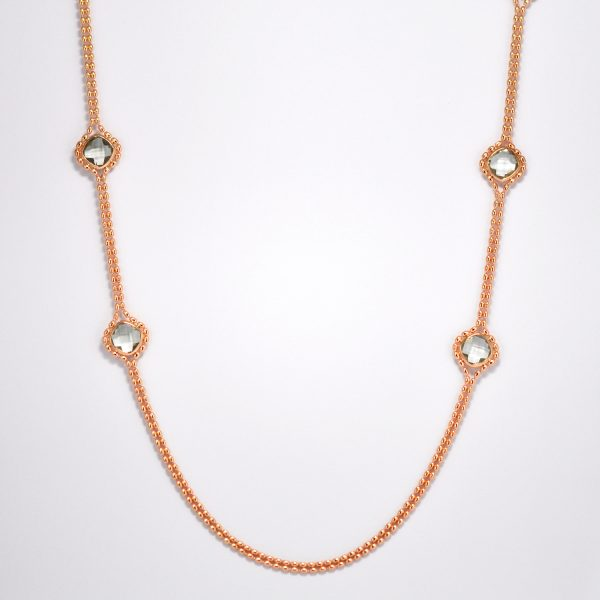 Rose gold-plated green amethyst necklace