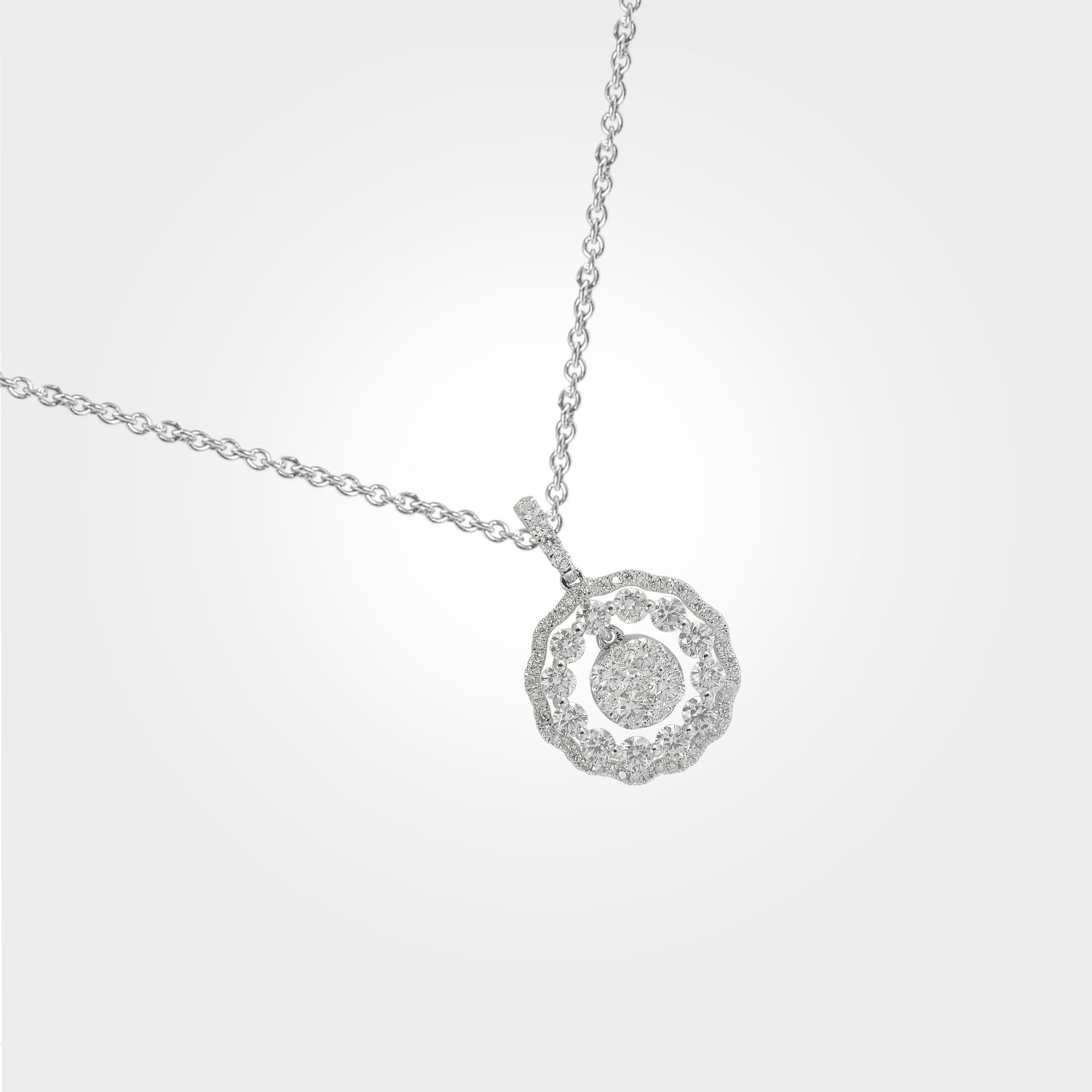 Diamond Motif & White Gold Pendant