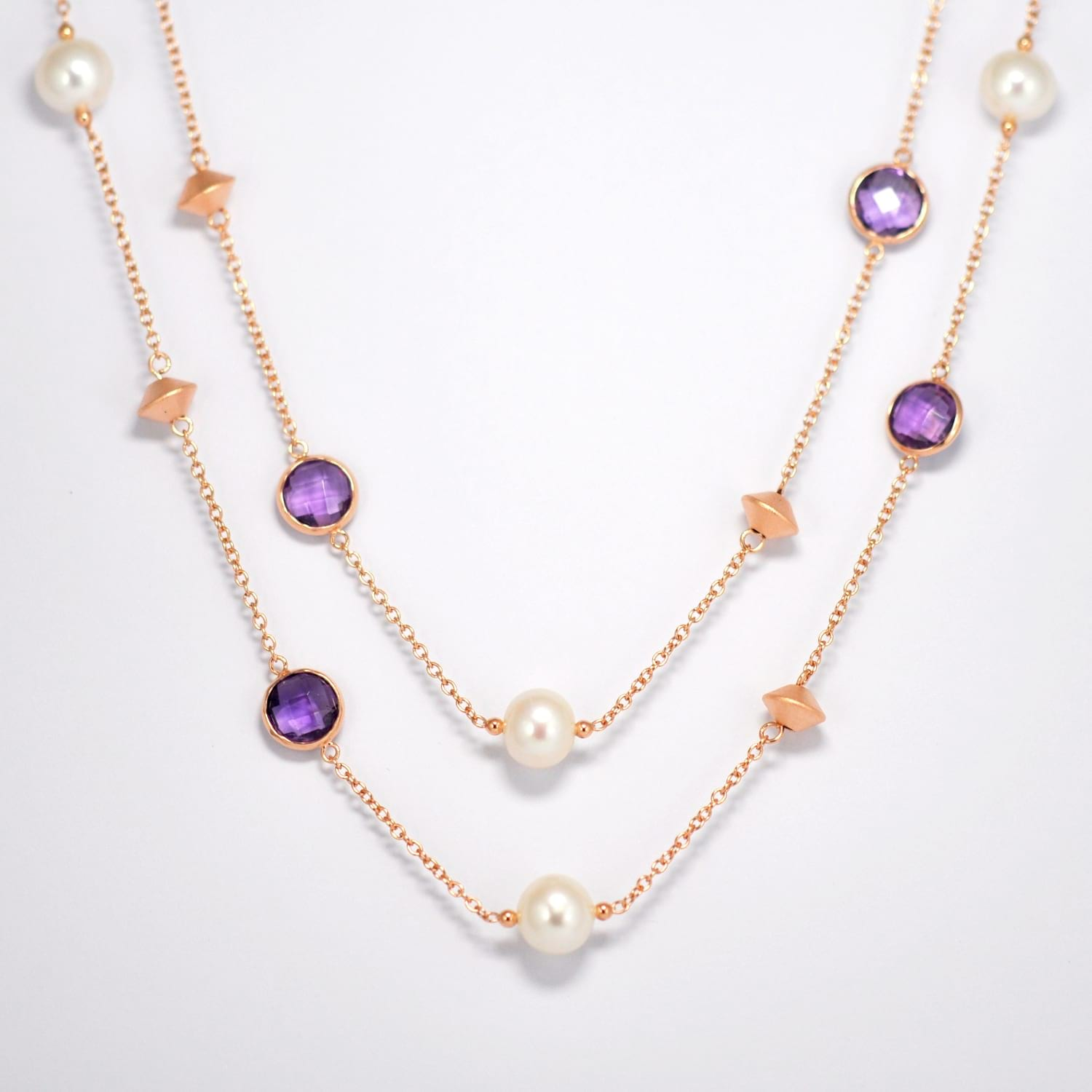 Amethyst & Fresh Water Pearl Necklace