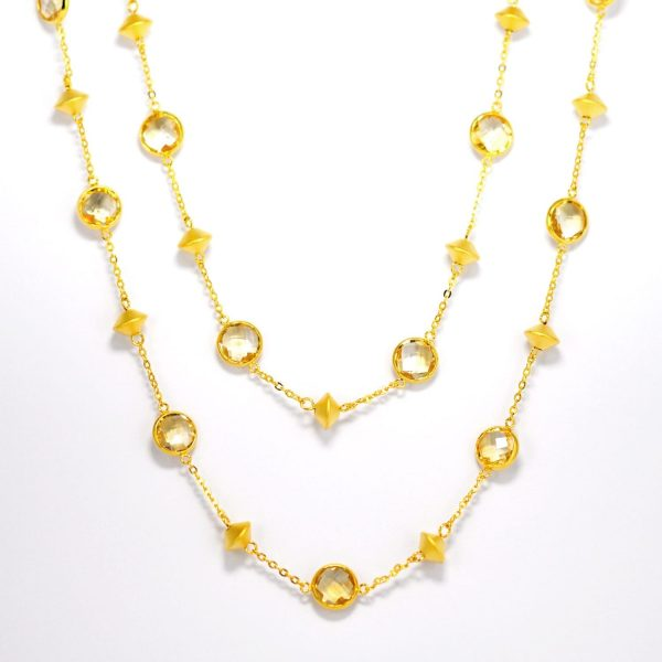 Citrine and golden beads necklace