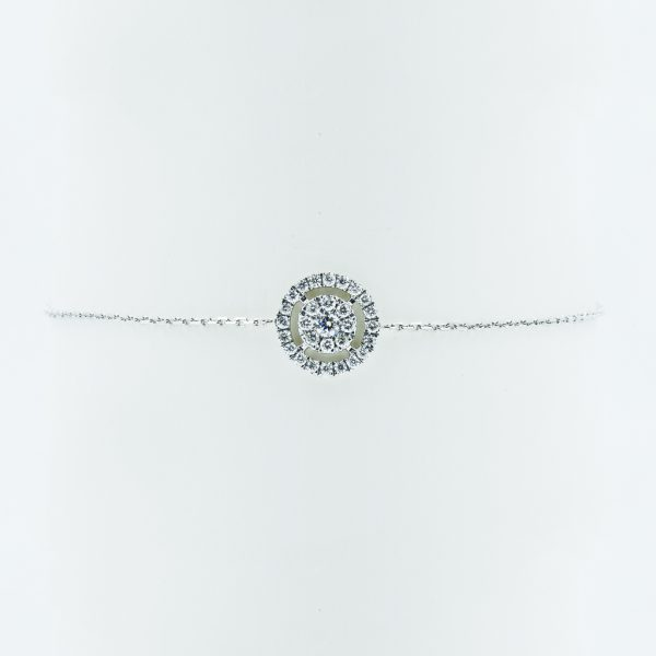 Concentric Circles Diamond Bracelet in White Gold - Front View