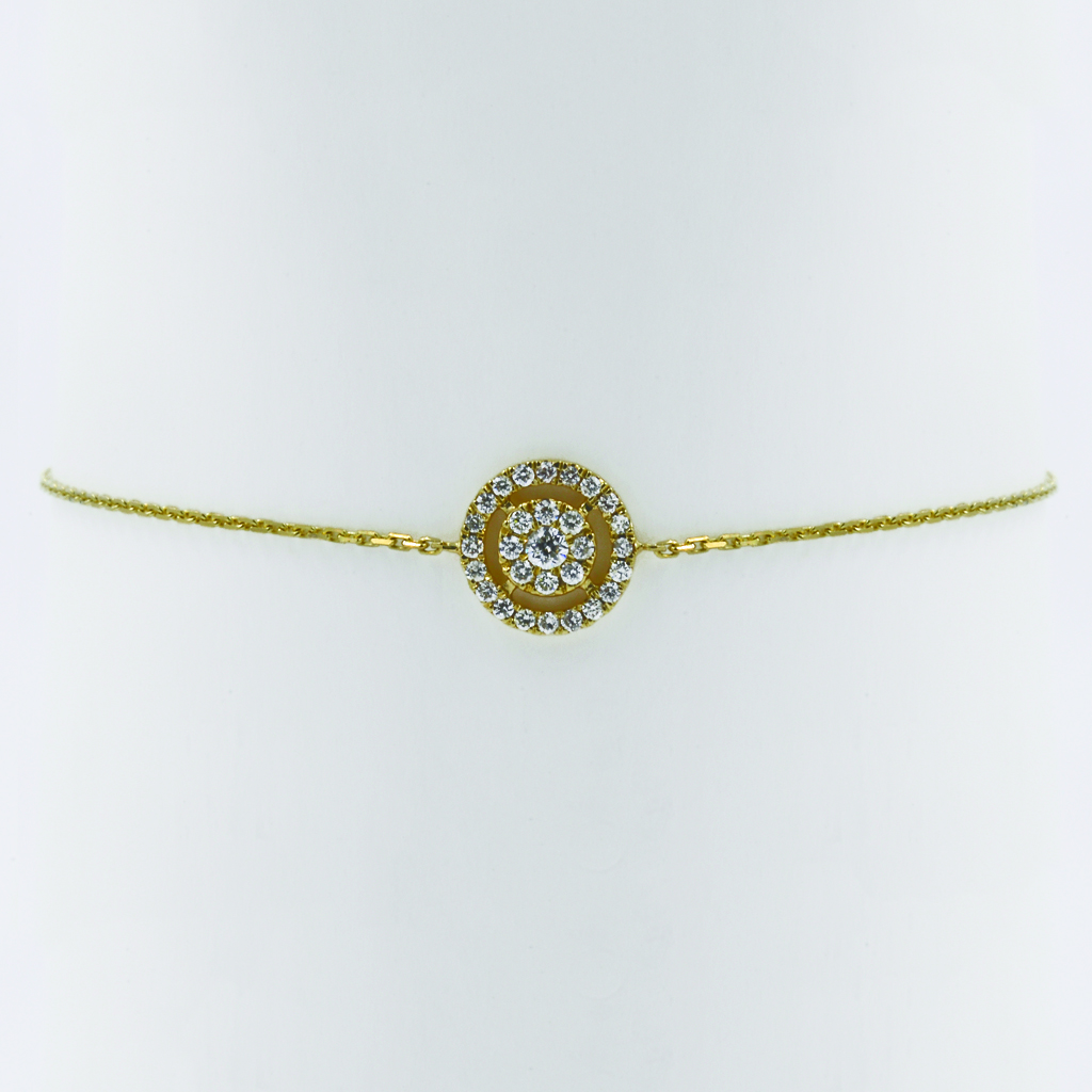 Concentric Circle Diamond Bracelet in Yellow Gold - Front View