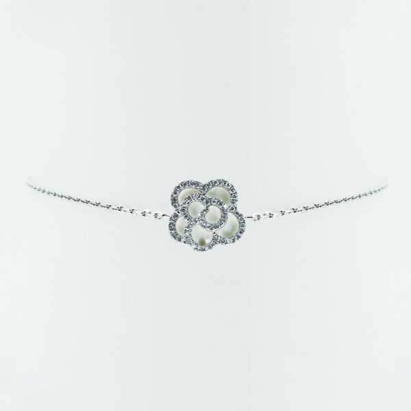 Camellia Diamond Bracelet in White Gold - Front View