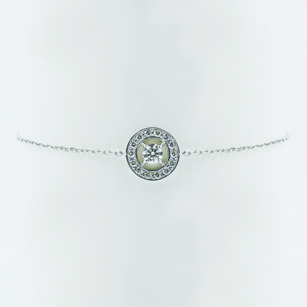 Round Motif Diamond Bracelet in White Gold - Front View