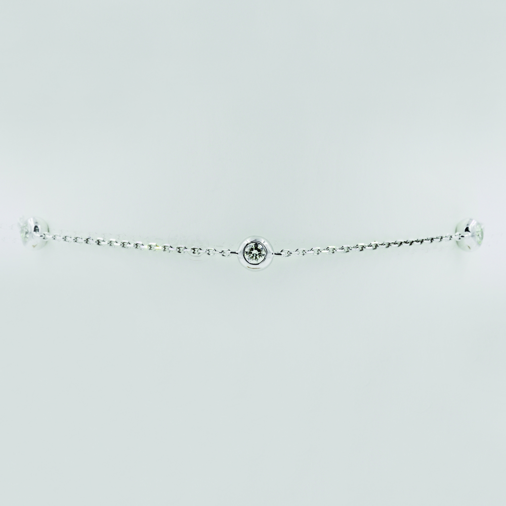 Three Diamonds Bracelet in White Gold - Front View