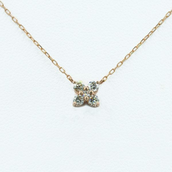 Romantic Diamond Necklace in Rose Gold - Front View