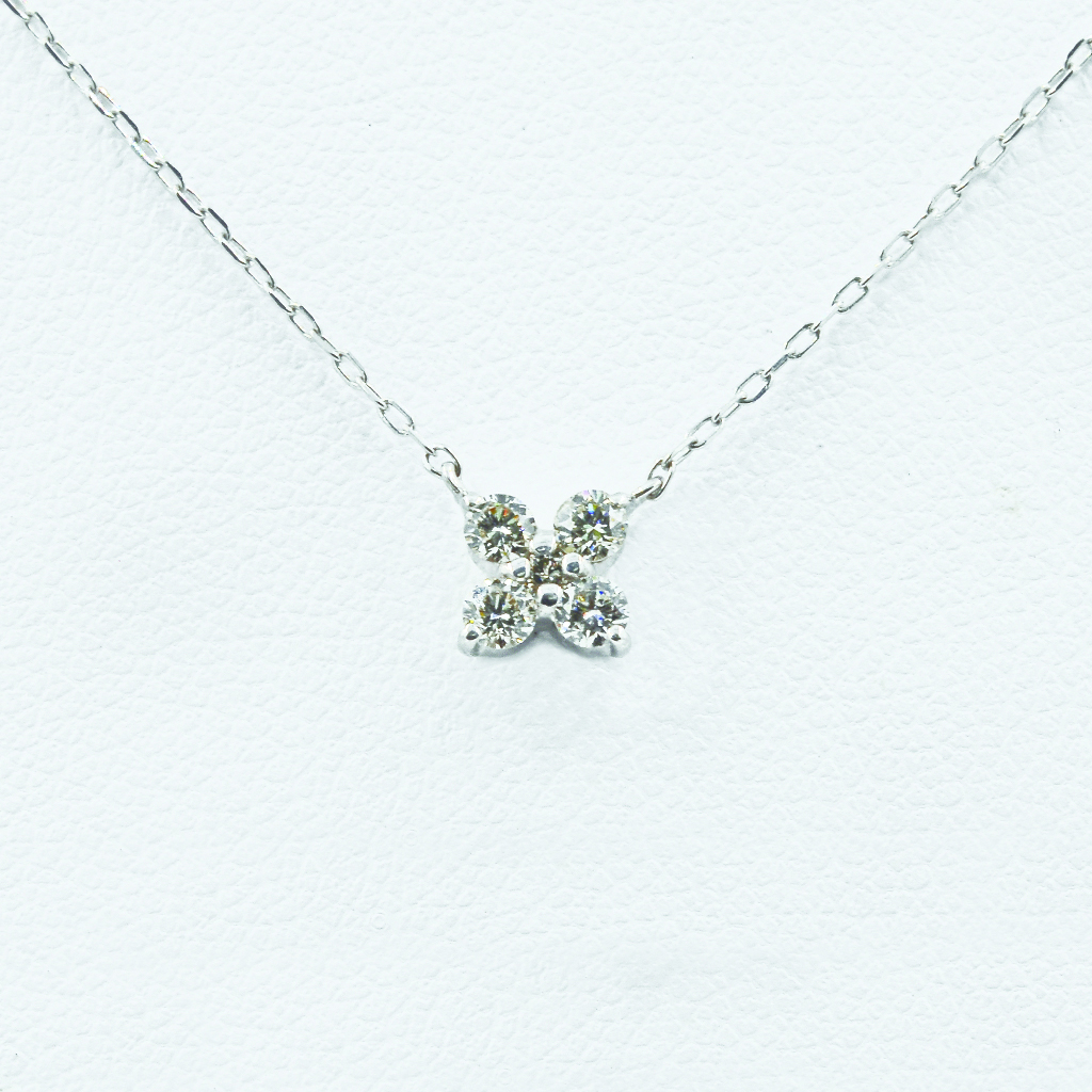Romantic Diamond Necklace in White Gold - Front View