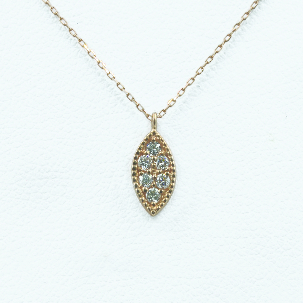 Leaf-Shaped Diamond Necklace in Rose Gold