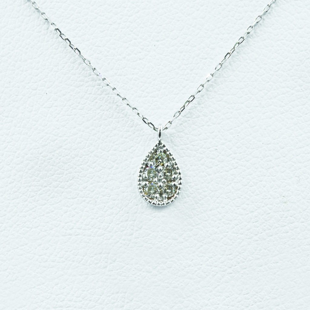 Pear-Shaped Diamond Necklace in White Gold