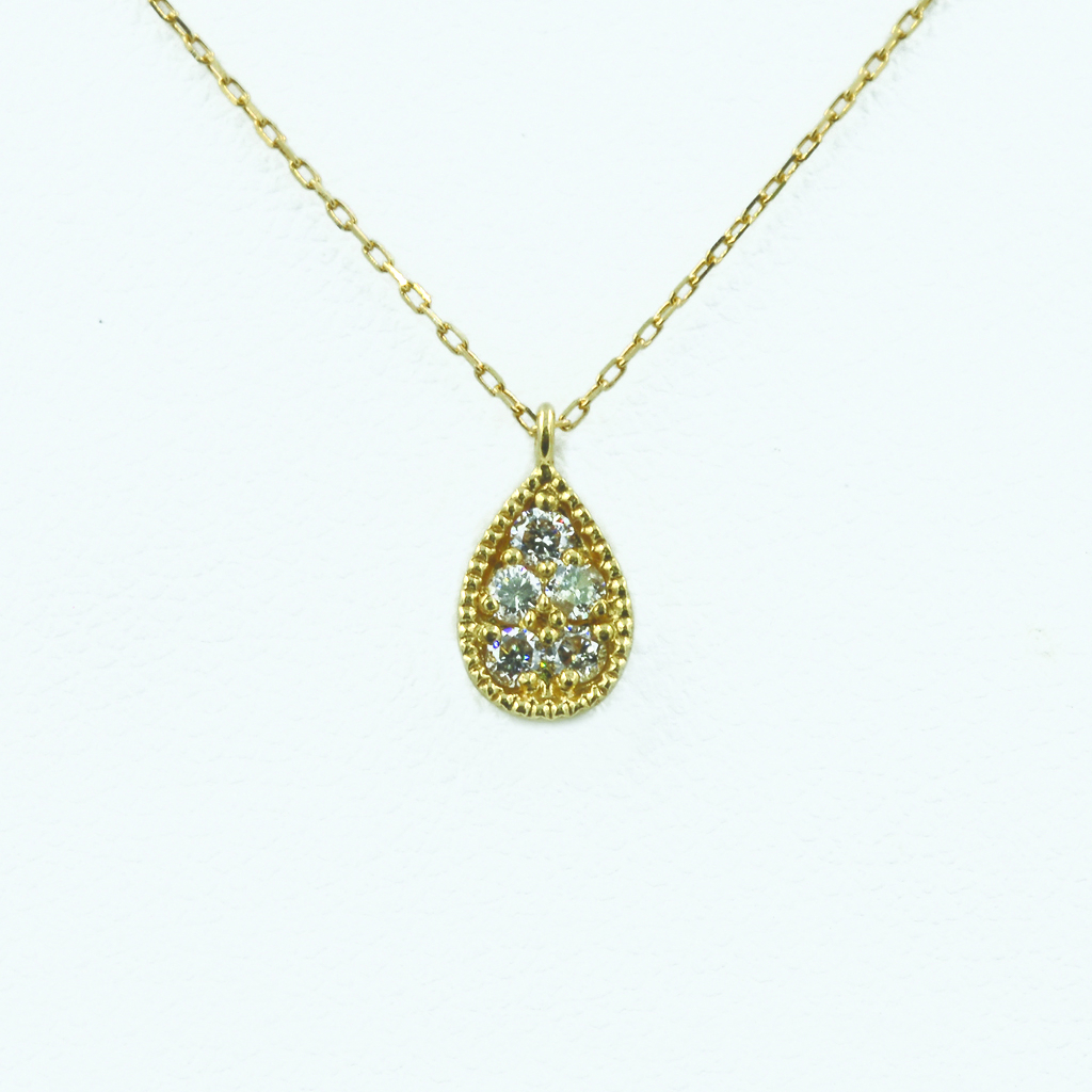 Pear-Shaped Diamond Necklace in Yellow Gold