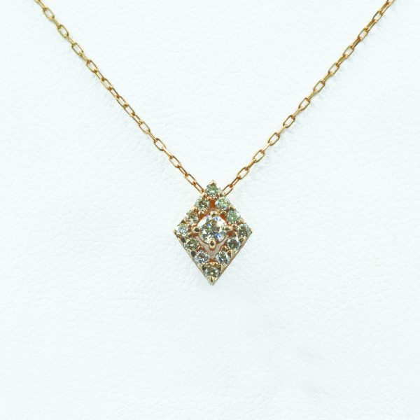 Rhombus Motif Diamond Necklace in Rose Gold