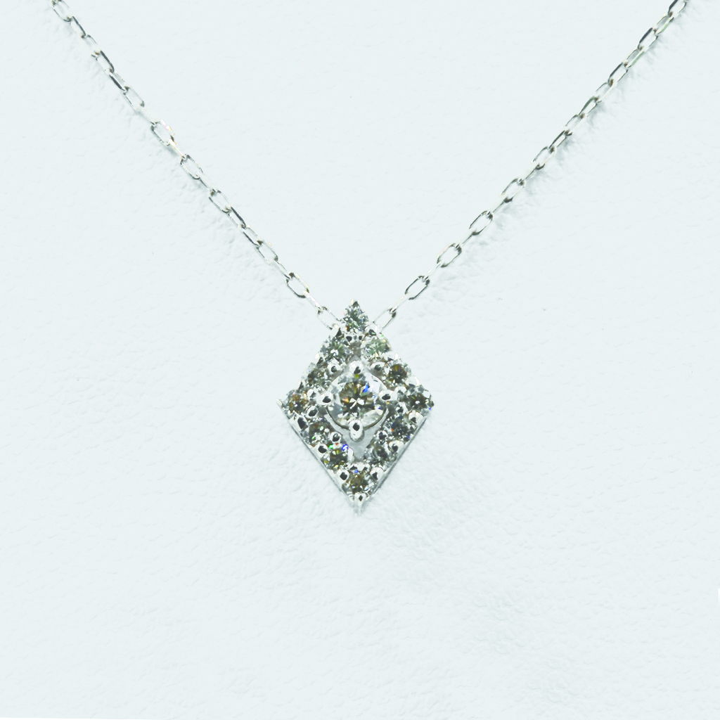 Rhombus Motif Diamond Necklace in White Gold
