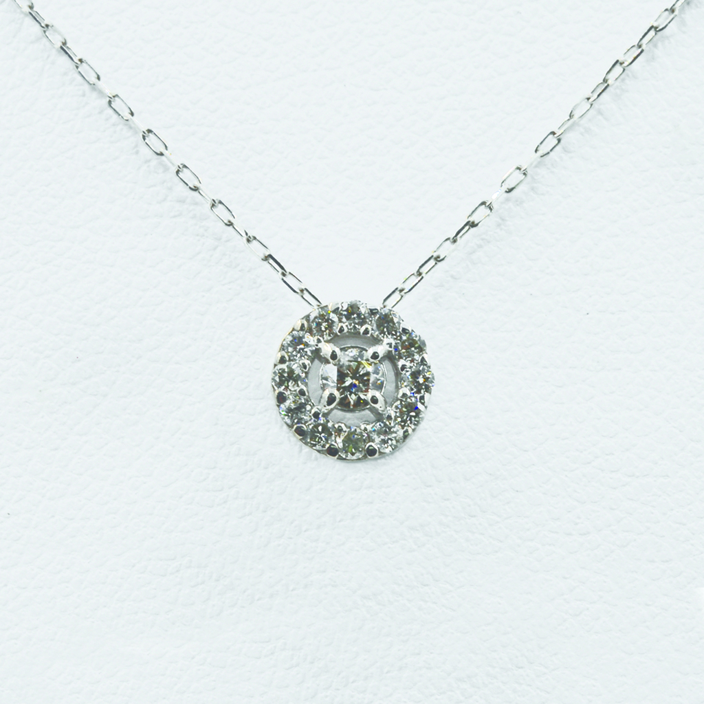 Concentric Circles Diamond Necklace in White Gold