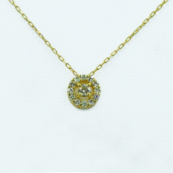 Concentric Circles Necklace in Yellow Gold