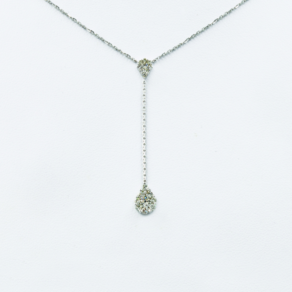 Pear-Shaped Drop Diamond Necklace