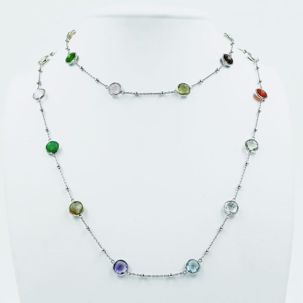 Vibrant Multi-Coloured Stones Necklace - White Gold-Plated Silver