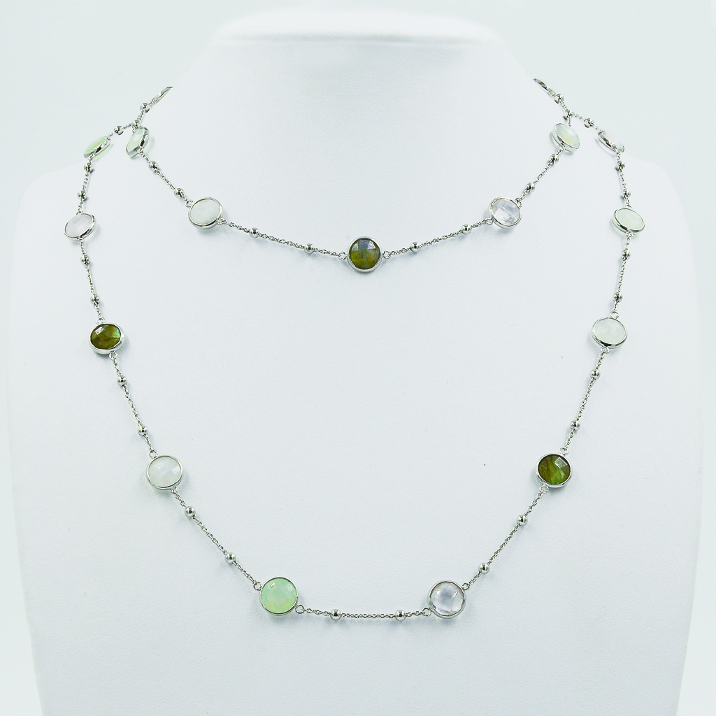 Multi-Coloured Stones Necklace - White Gold-Plated