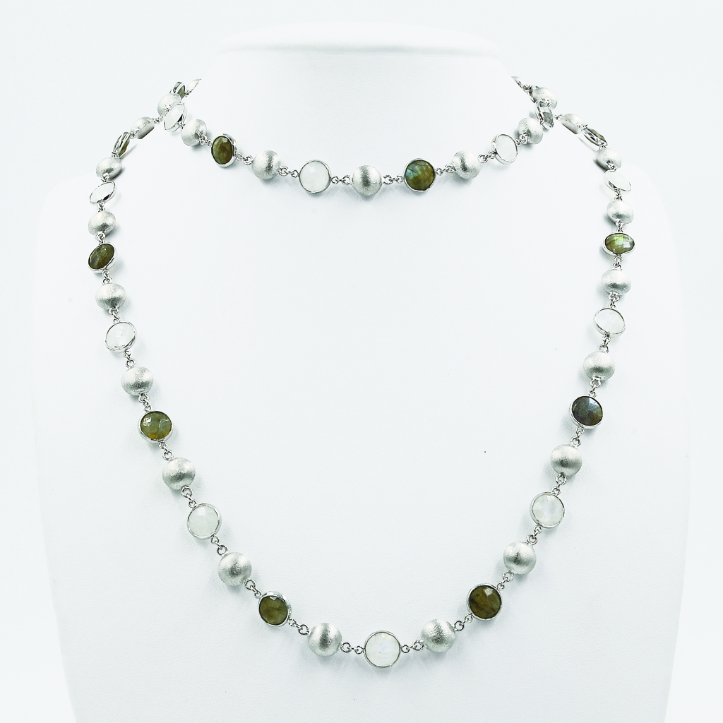 Multi-Coloured Gems & Beads Necklace - White Gold-Plated