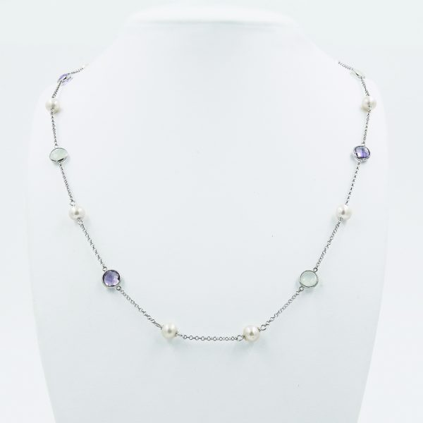 Aquamarine & Amethyst Pearl Necklace - White Gold-Plated Silver