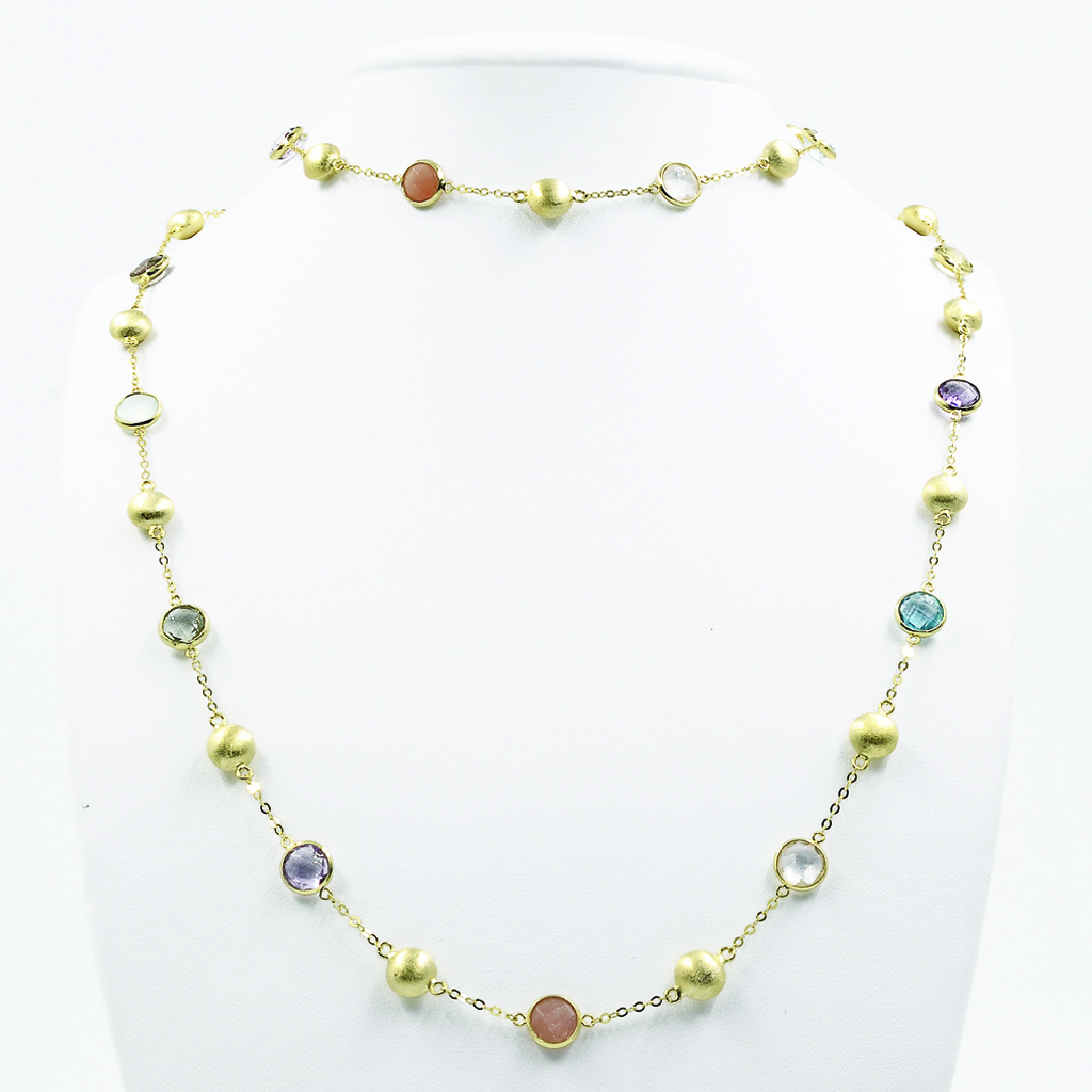Multi-Coloured Stones Necklace in Yelloe Gold-Plated Silver