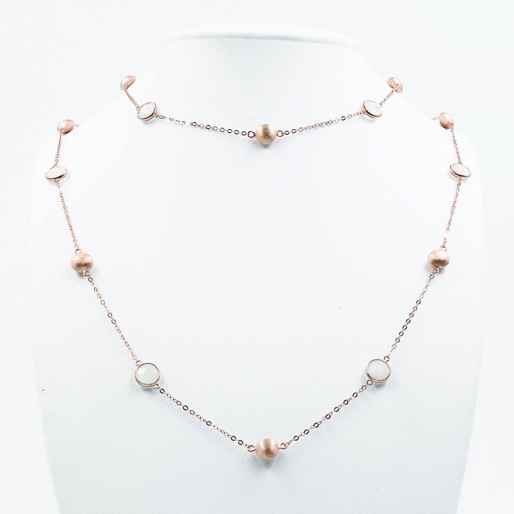 Moonstone Necklace with Rose Gold-Plated Beads