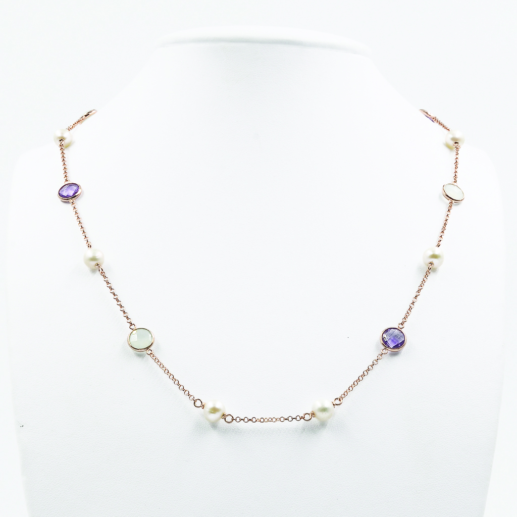 Amethyst & Pearl Necklace - Rose gold-plated Silver
